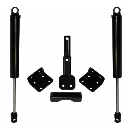 DOUBLE STEERING STABILIZER W/ 2.0 BLACK SHOCKS